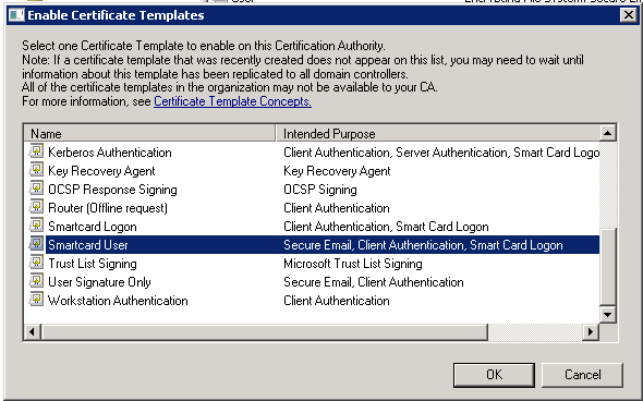 Active directory configuration win cert dualshield mfa on the enable certificate templates popup window select smartcard user in the list then press ok yadclub Images